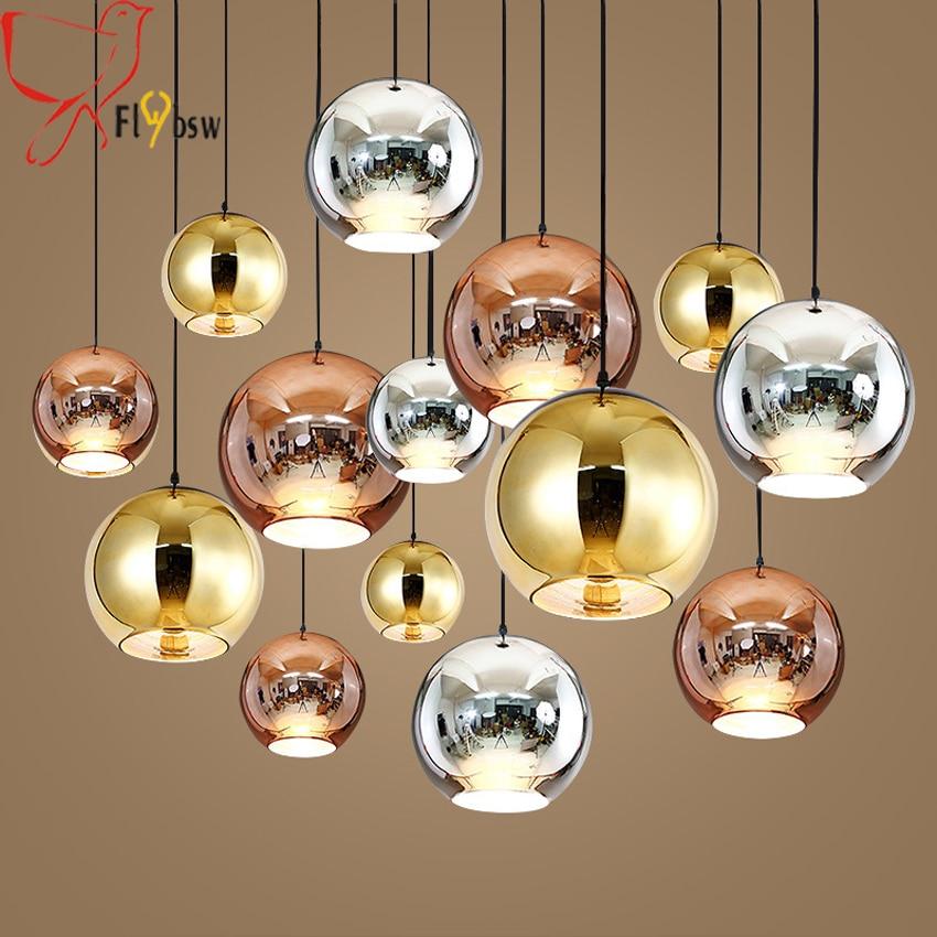 Modern Plating Glass Ball Pendant Lights Copper Sliver