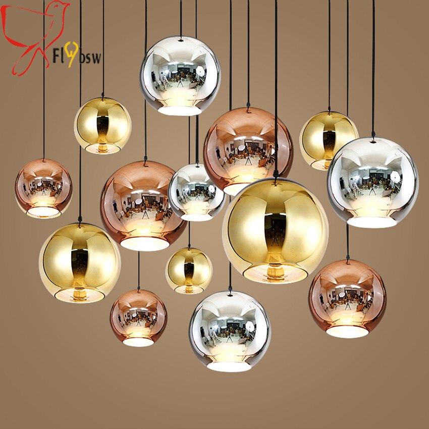 Modern plating Glass Ball Pendant lights Copper/Sliver/Gold/red dia 15 45cm glass hanging lamp for Kitchen restaurant lighting