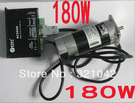 Leadshine 180W Brushless DC Servo Motor+Drive Kit BLM57180-1000+ACS606+Cable 6.7A 36VDC 0.57NM 3000RPM Pulse Control new leadshine 180w brushless dc servo motor drive kit blm57180 1000 acs606 cable