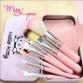 Милая Девушка Hello Kitty Розовый Утюг Дело Кисти Для Макияжа Набор 7 ШТ. составляют набор кистей Pro Качество Косметическая Инструмент