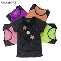 VEAMORS Women Absorb Sweat Yoga Shirts Dry Quick Sports T Shirt , Running Short Sleeve T-shirts Fitness Clothes Yoga Tee Tops