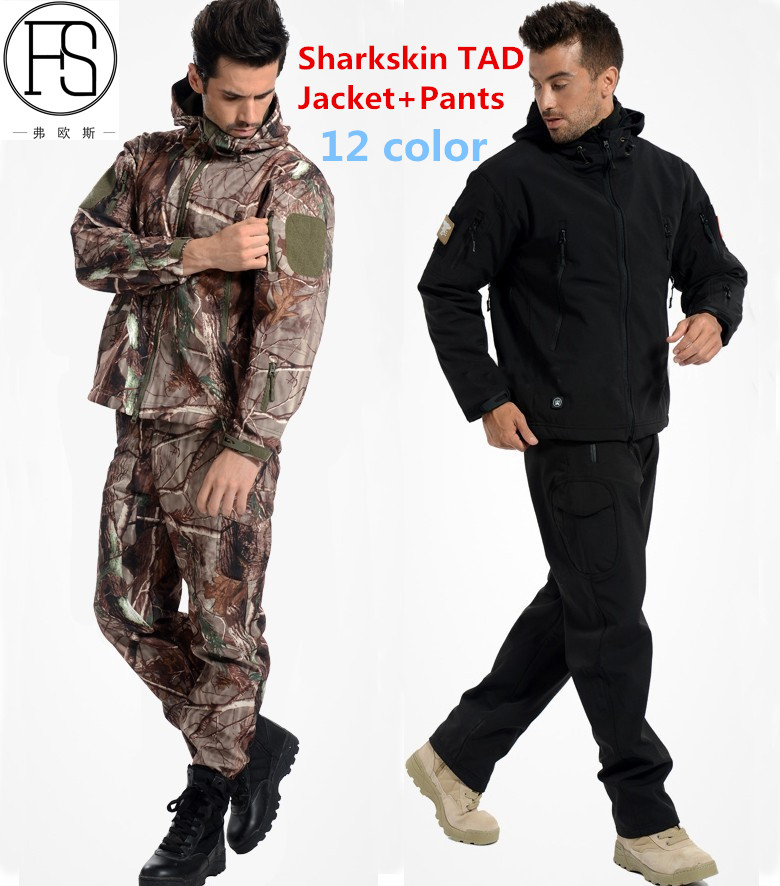 TAD Tactical Men Army Hunting Hiking Fishing Explore Clothes Suit Camouflage Shark Skin Military Waterproof Hooded Jacket+Pants lurker shark skin soft shell v4 military tactical jacket men waterproof windproof warm coat camouflage hooded camo army clothing