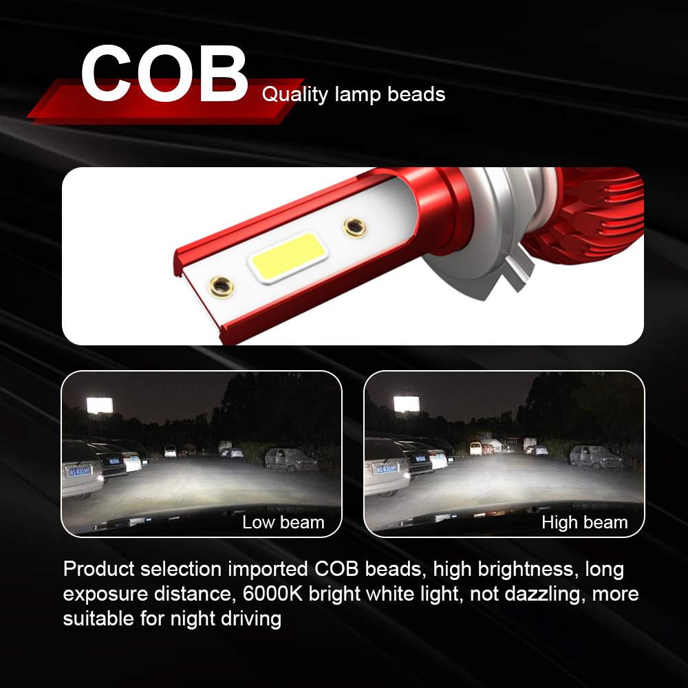 Image 3 - COB Chip H4 H7 LED Headlight Conversion Kits H1 H11 9005 9006 HB3 HB4 Car Light Bulbs Auto Lamp 6000K 12V-in Car Headlight Bulbs(LED) from Automobiles & Motorcycles