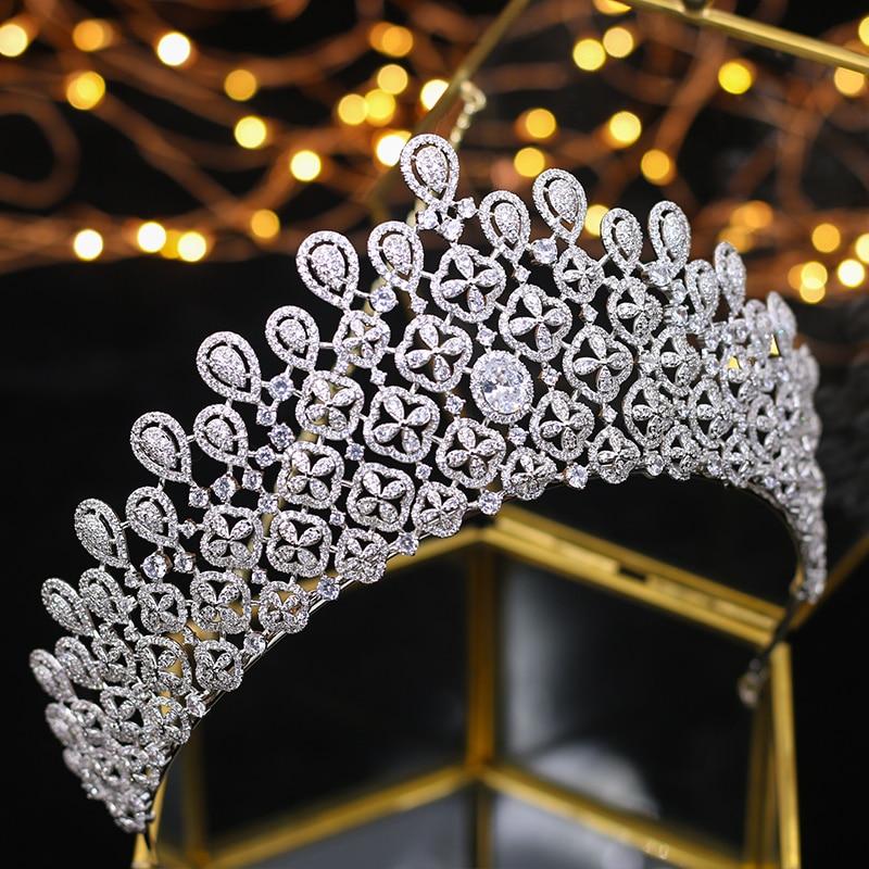 ASNORA Top quality princess oversized golden All zircon bridal Tiara Tiara Silver Crystal Wedding Hair Accessories