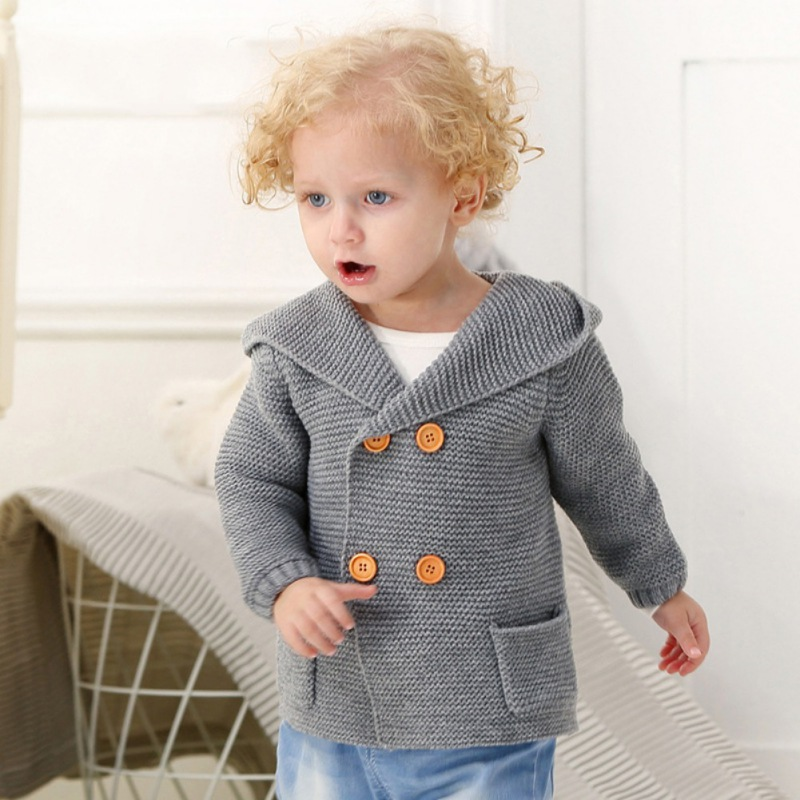2019 Spring Infrant Baby Hoodid Sweater Autumn Winter Baby Cotton Sweater Outerwear Boy Girl Coat Clothes