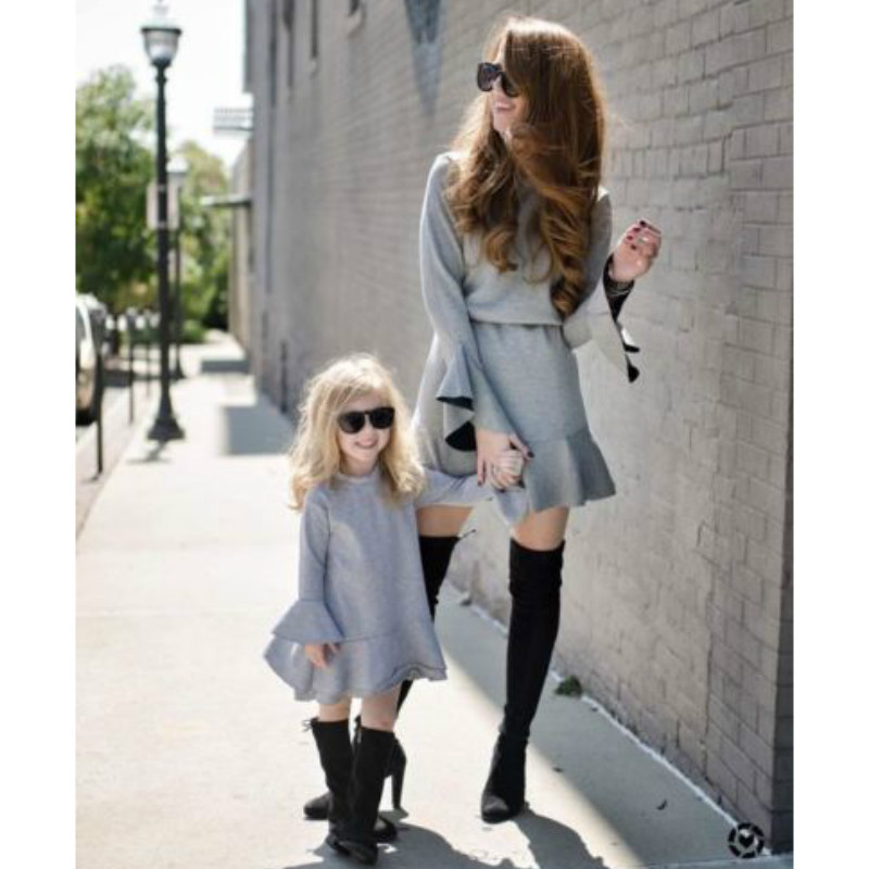 2018 Autumn Mother kids Mom and daughter dress Ruffle gray dresses Long sleeve Girl family look matching clothes