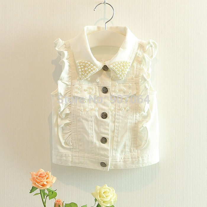 EMS-DHL-Free-shipping-Little-Kids-Toddler-Girls-White-Vest-Pearles-Beaded-Waistcoat-Casual-Vest-Pants