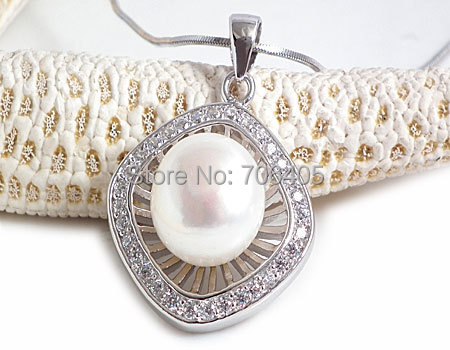 Élégant Perles D'eau Douce Bijoux 100% Garanti Perles Naturelles Argent 925 Pendentif yh47986