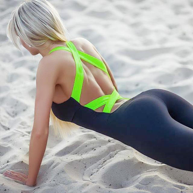 Codysale Women Fitness Jumpsuits Aerobics Jumpsuit Skinny Bodysuit Fashion Bandage Slim Elasticity Sleeveless Backless Jumpsuits