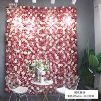 2,4 м x 2,4 М Горячий красный с белым розы свадебные стены цветок фоне Свадебные украшения