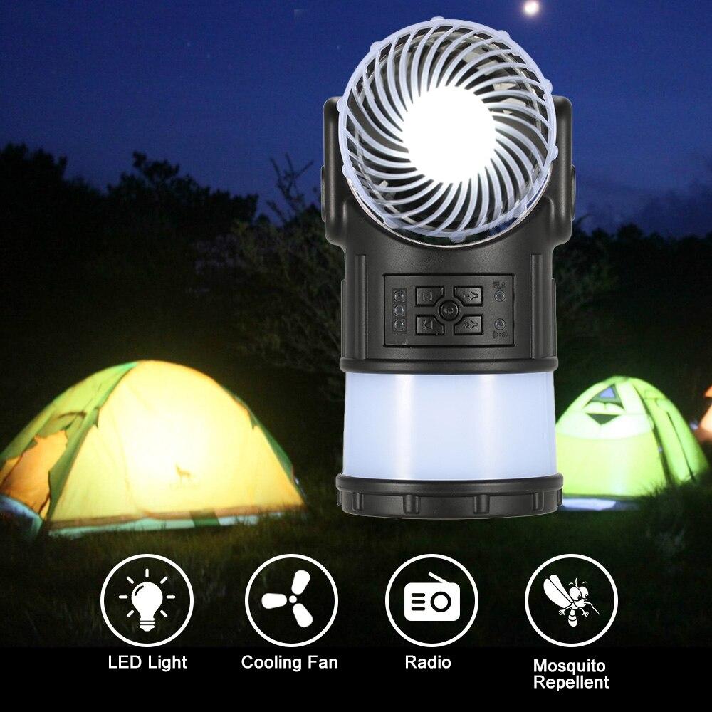 2017 été nouveau LED Portable lanterne lampe de poche ventilateur avec Radio haut-parleur moustique répulsif USB charge Camping lumière Mini ventilateur