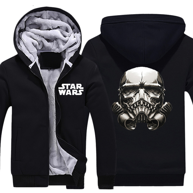 Mens Casual Movie Star Wars:Episode II-Attack of the Clones Mask Zip Up Super Warm Winter Thick Hoodies