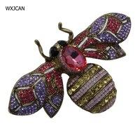 WXJCAN насекомое пчела крупная брошь vintge горный хрусталь брошь женщины мужчины клип кулон зимнее пальто свитер украшение дома размер 10 см * 6 см