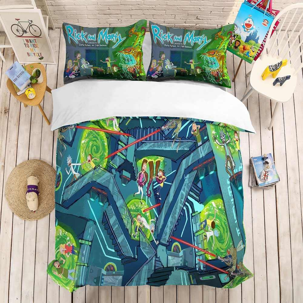 3D Print Rick and Morty Bedding Set Fashion Cartoon Style Kids Home Duvet Cover Set 3PCS Microfiber Bed Linen Set Home Textiles