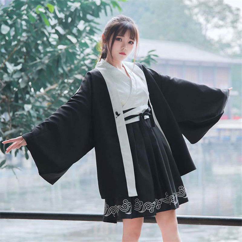 Japanese Bushido Women Dress 2 Pieces Coat And Dress Long Large Sleeve Cuff Japanese Girl Robe Crane Print White And Black Suits