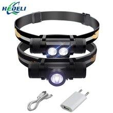 Led USB farol cree xm l2 farol Cabeça tocha lanterna à prova d' água levou a cabeça de luz 18650 bateria recarregável luz de acampamento