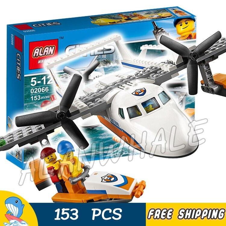 153pcs New City Coast Guard Sea Rescue Plane Boat Raft 02066 Model Building Blocks Children Toys Bricks Compatible With lego
