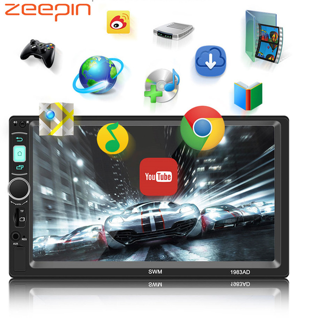 2 Din Android System Car Multimedia Player AM / FM Stereo Radio 7 inch Touch Screen Wifi Bluetooth GPS Navigation