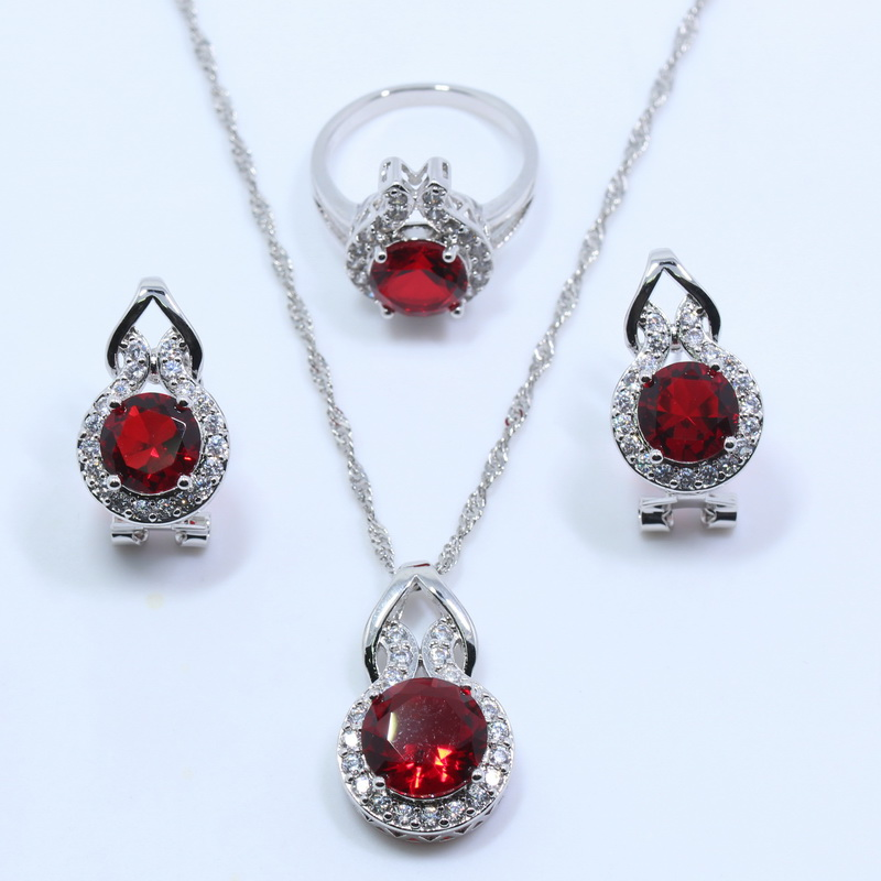 Gracious 925 Sterling Silver Rhodolite Garnet Wedding Bride Jewelry Set For Women Earring Ring Pendant Necklace T109 Wedding & Engagement Jewelry Bridal Jewelry Sets