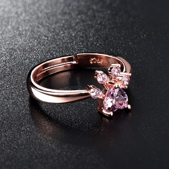 Cute Bear Paw Cat Claw Opening Adjustable Ring Rose Gold Rings for Women Romantic Wedding