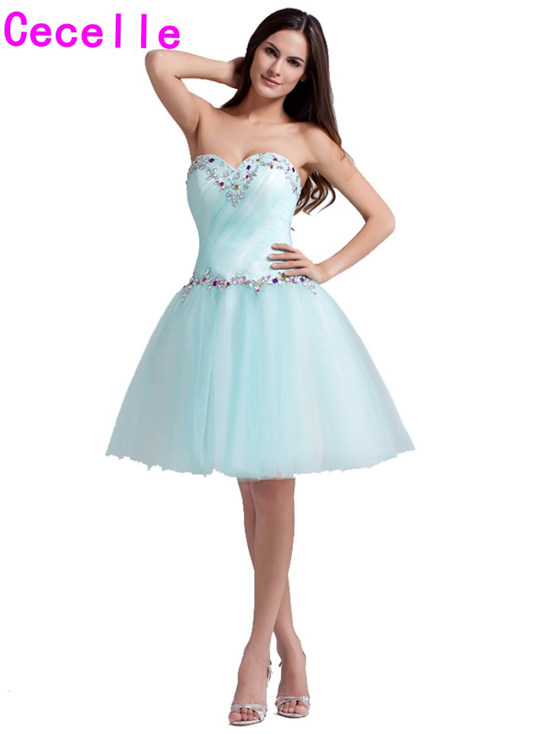 2e8d37a549a Cute Mint Short Juniors Homecoming Dresses 2019 Sweetheart Beaded Crystals  Tulle Knee Length Homecoming Party Gowns Teens