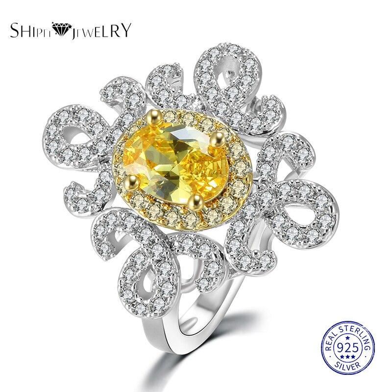 Женское Обручальное Кольцо Shipei, роскошное обручальное кольцо из серебра 100% пробы с желтым и розовым сапфиром, рубином и изумрудом, Подарок н...