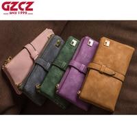 GZCZ Women Wallets Female Drawstring Nubuck Leather Zipper Wallet Women S Long Design Purse Fashion Two