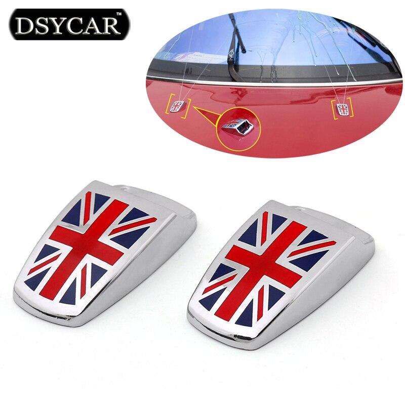 DSYCAR 1 Pair Car Styling Window Wiper Spray Nozzle Cover Union Jack Decorative Sticker Logo Accessories For BMW MINI