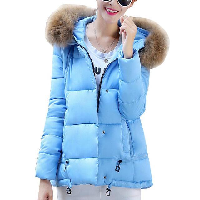 2015 Women Light Blue Winter Duck Down Jacket With Fur Women ...