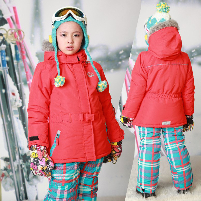 Russian Winter Girls Ski Suit Windproof Outdoor Girls Ski Jackets+Bib Pants 2pcs Children Clothing Sets for 2-16Y russian winter children ski suit windproof outdoor girls ski jackets bib pants 2pcs girls clothing set for 2 7 years