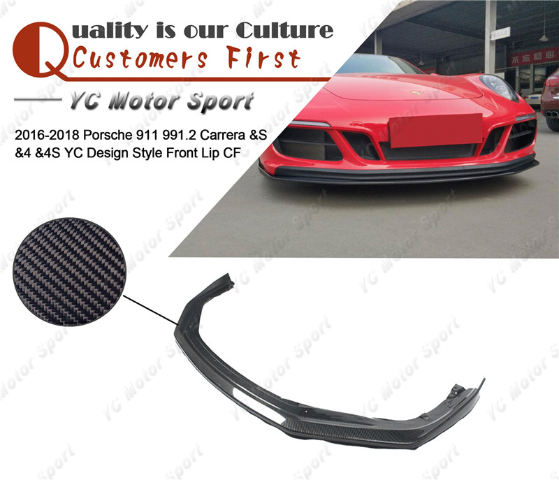Carbon Fiber YC Design Style Front Lip Fit For 2016-2018 911 991.2 Carrera & S & 4 & 4S Front Bumper Lower Splitter Lip