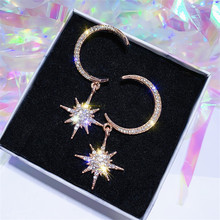 цена на Korean Star Moon Shining Rhinestone Drop Earrings For Women Fashion Charm Ab Earrings Jewelry Wedding Party Bijoux Wholesale