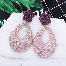 หรูหราออกแบบดอกไม้ Cubic Zirconia ต่างหูแฟชั่นผู้หญิงงานแต่งงานจัดเลี้ยงต่างหูขายใหม่ร้อน XIUMEIYIZU ทองเหลืองเครื่องประดับ