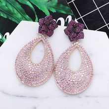 Luxe Bloem Ontwerp Zirconia Oorbellen Vrouwen Mode Bruiloft Drop Oorbellen Nieuwe Hot Koop Xiumeiyizu Messing Sieraden