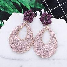 Luxo design de flor brincos de zircônia cúbica moda feminina casamento banquete gota brincos nova venda quente xiumeiyizu latão jóias