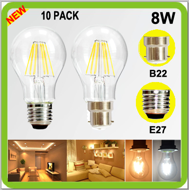 Wholesales 10 PACK 8W LED bulb A60 A19 cob led filamento bombilla vintage lamps 820lm Bayonet Screw E27 B22 2 YEAR WARRANTY