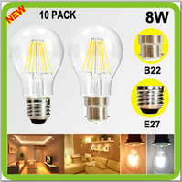 Wholesales 10 PACK 8W LED bulb A60 A19 cob led filamento bombilla vintage lamps 820lm Bayonet Screw E27 B22 2 YEAR WARRANTY