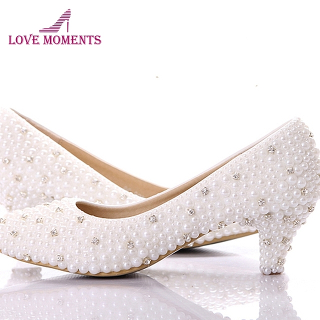 Custom make large size small heel bridal wedding shoes white pearl Low  heels shoes Celebrity Party Prom Dancing Shoes 737b3a86b259
