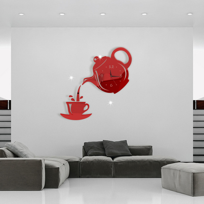 Kitchen Art 32cm: Acrylic Coffee Cup Teapot 3D Wall Clock Decorative Kitchen