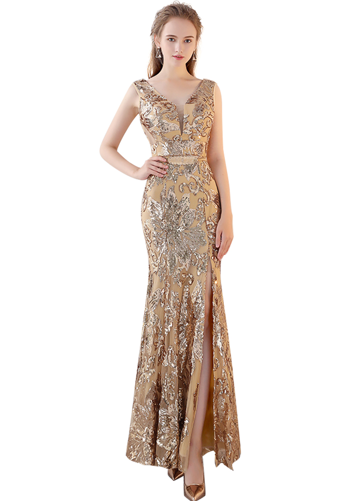 VKBRIDAL Rose Gold Sequined Mermaid Stretchy Long   Bridesmaid     Dresses   with Side Slit Plus Size Formal Party Prom Gowns for Women