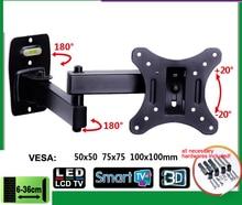 Suporte do monitor lcd eml602, suporte de movimento total 10 26 polegadas, para parede de tv, suporte de inclinação giratório para braço oscilante