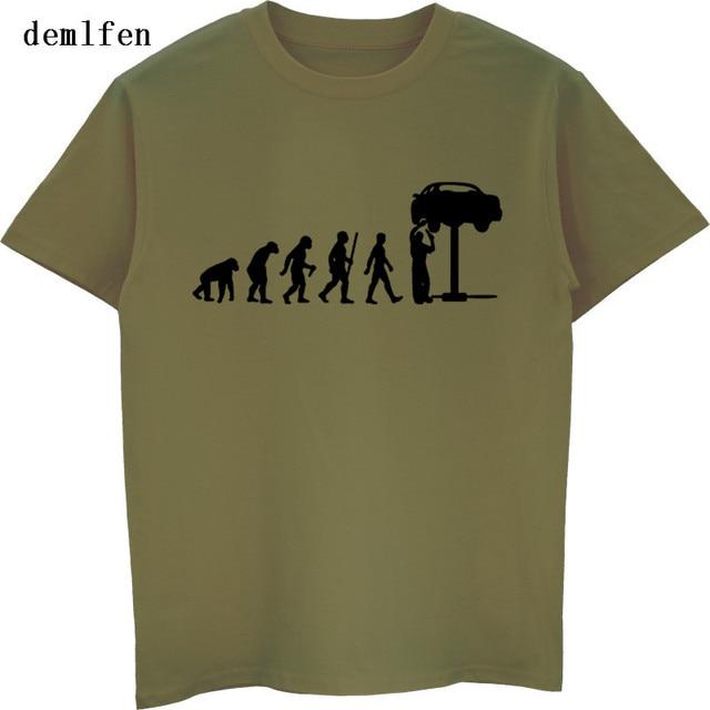 9b91616126ca Summer Evolution Auto Mechaniker Mechanic Car T-Shirt Tops Funny Gift  Casual Cotton T Shirt