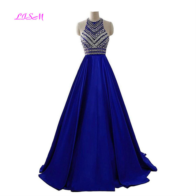Royal Blue Crystals Prom Dresses 2019 A-Line Sleeveless Party Dress with Pockets O-Neck Beadings Satin Long Formal Evening Gowns 1