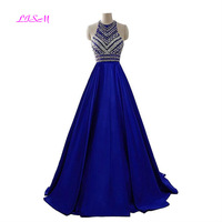 Royal Blue Crystals Prom Dresses 2020 A Line Sleeveless Party Dress with Pockets O Neck Beading Satin Long Formal Evening Gowns