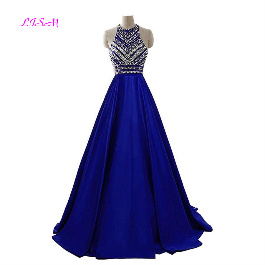 Royal Blue Crystals Prom Dresses 2019 A-Line Sleeveless Party Dress With Pockets O-Neck Beadings Satin Long Formal Evening Gowns