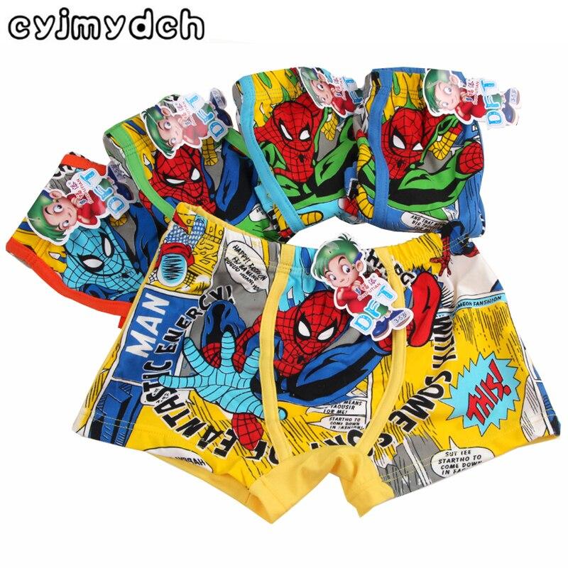 Spiderman boys   panties   for girls underwears mickey kids   panties   boys boxers baby underpants teenager   Panty   shorts 3-11Y 5pcs/lot