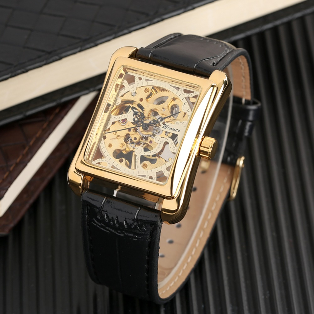 Men Watch Top Brand Fashion Luxury Mechanical Watch Hallow Skeleton Casual Leather Strap Wrist Watch Clock Male reloj hombre in Mechanical Watches from Watches