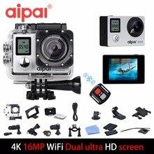 Aipal А1 экшн камера с возможностью съемки видео 4К, 16 МП камера с разрешением 1080p, обладает WiFi, водонепроницаемая камера, ультра HD 2.0 ЖК-173D 40м двойной экран, камера