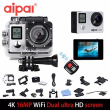 Aipal A1 Action Camera 4K 16MP 1080p Wifi Waterproof Camera Ultra HD 2.0LCD 173D 40m Double Screen Sport Camera.