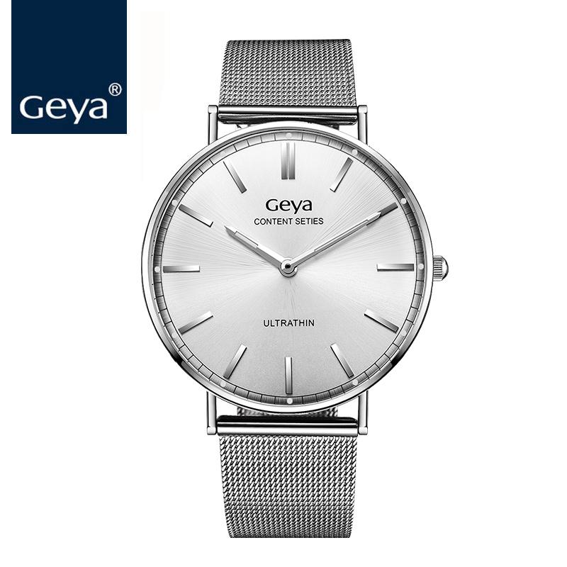 0da14d74383 Geya 2017 Novos Homens Relógios Top Marca de Moda de Luxo Simples Ultra  Fino Milanese Laço Pulseira NATO Relógio de Estilo Para Homens relógio